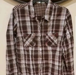 Maurices plaid button front size large